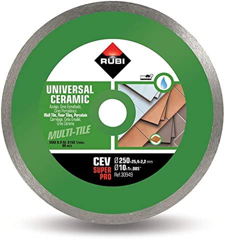 Rubi 30949 - 10″ Ceramic Tiles Continuous Rim Diamond Blade, CEV-250 SUPERPRO