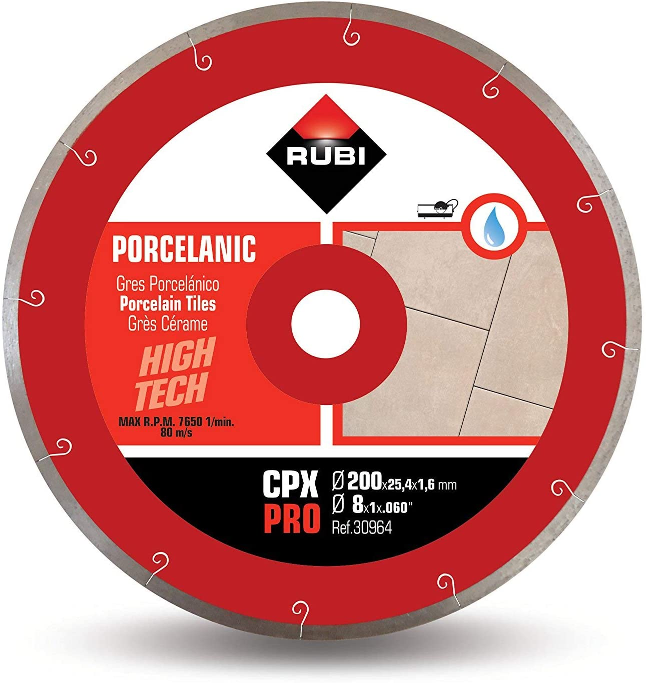 Rubi 30962 - 10″ Porcelain Tiles J-Slot Diamond Blade, CPX-250 PRO