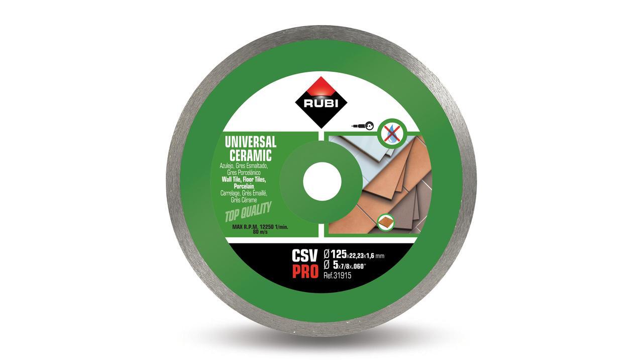 Rubi 31915 - Ceramic Tiles Continuous Rim Diamond Blade 125mm, CSV-125 PRO