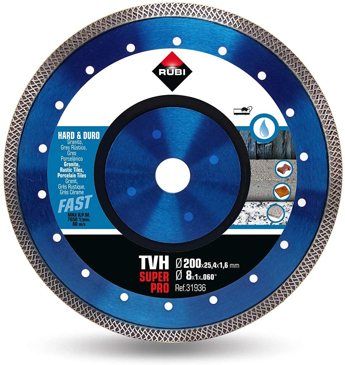 Rubi 31936 - 8″ Hard Material Turbo Viper Diamond Blade, TVH-200 SUPERPRO