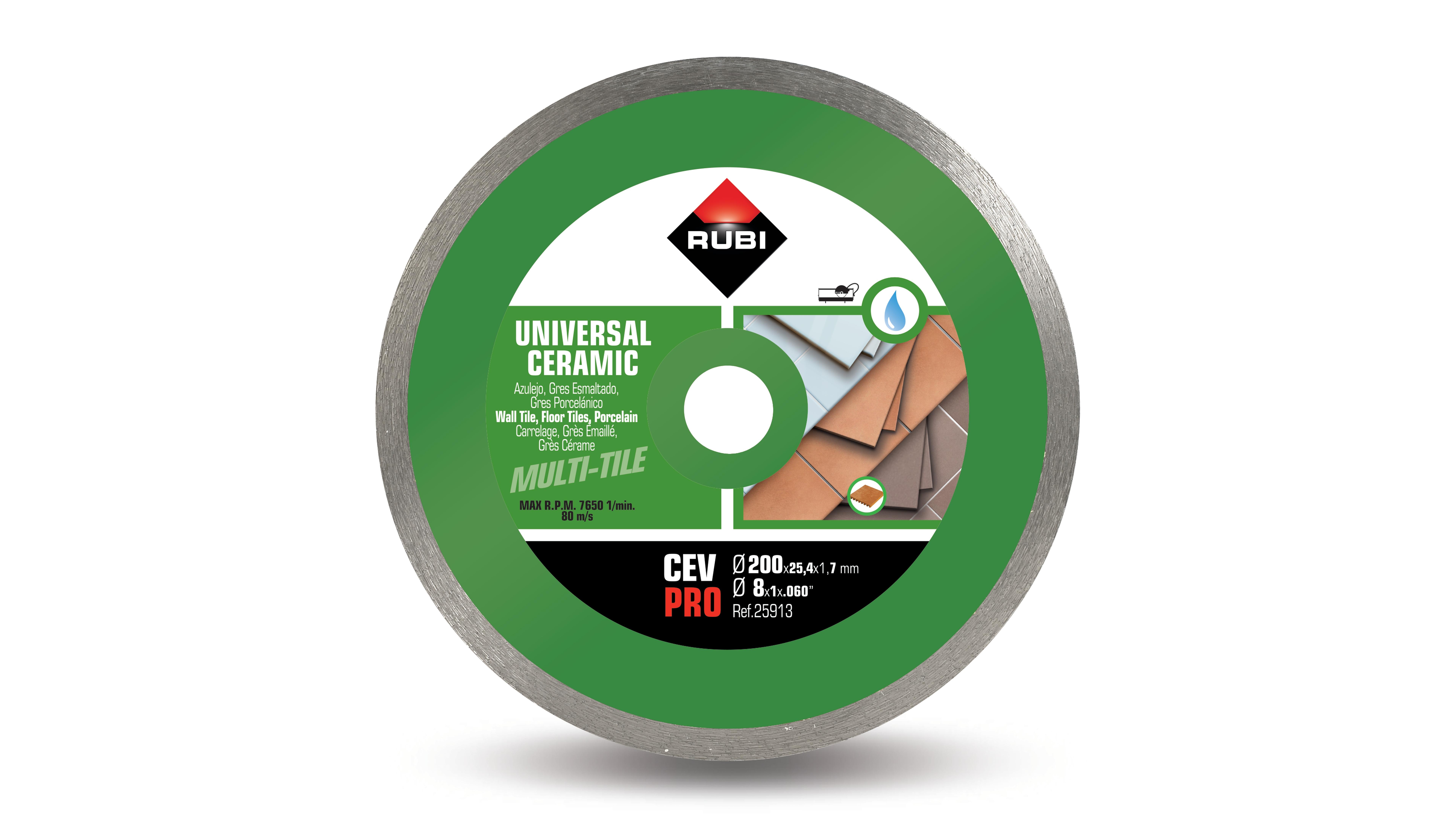 Rubi 25913 - CEV-200 Pro Continuous Ceramic Tiles Diamond Blade 200mm