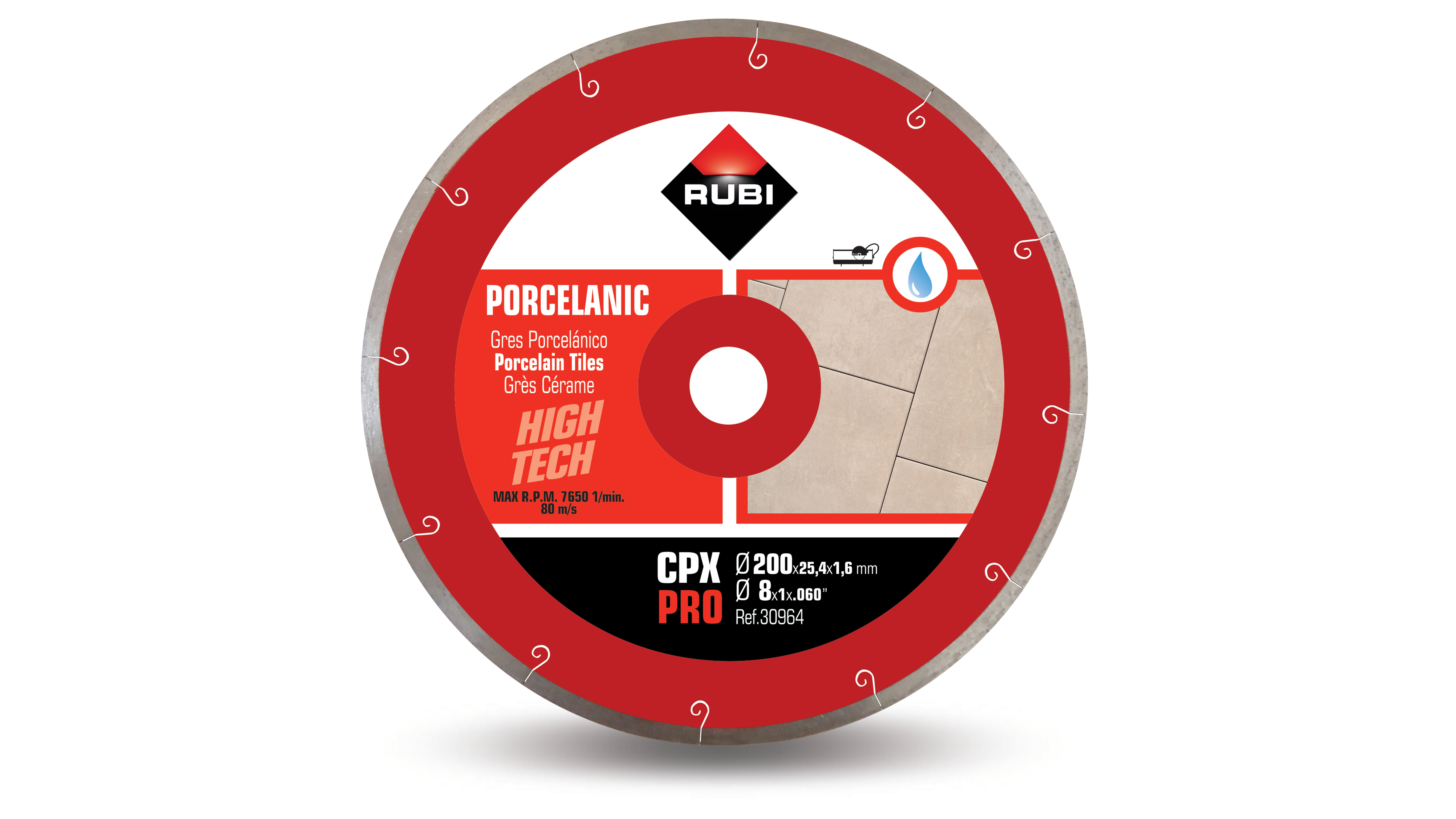 Rubi 32915 - CPX-200 C Sea Porcelain Tiles Diamond Blade 200mm