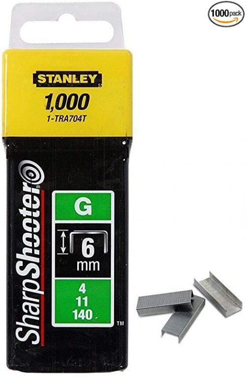 STANLEY 1-TRA704T - Heavy Duty Staples – Type G, 1/4in – 1000Piece