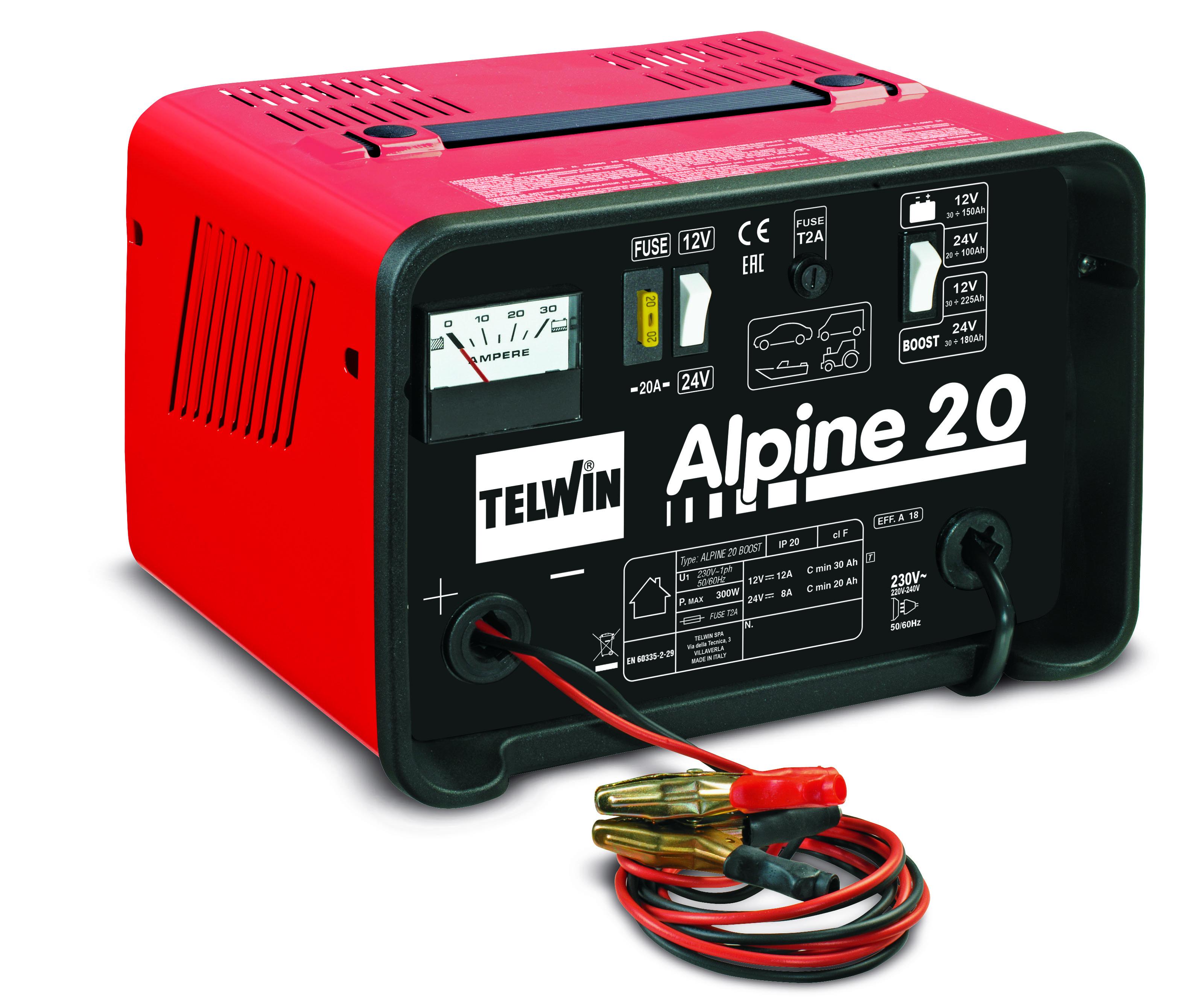 TELWIN 807546 - ALPINE 20 Boost Battery Charger, 230V 50/60HZ 12-24V