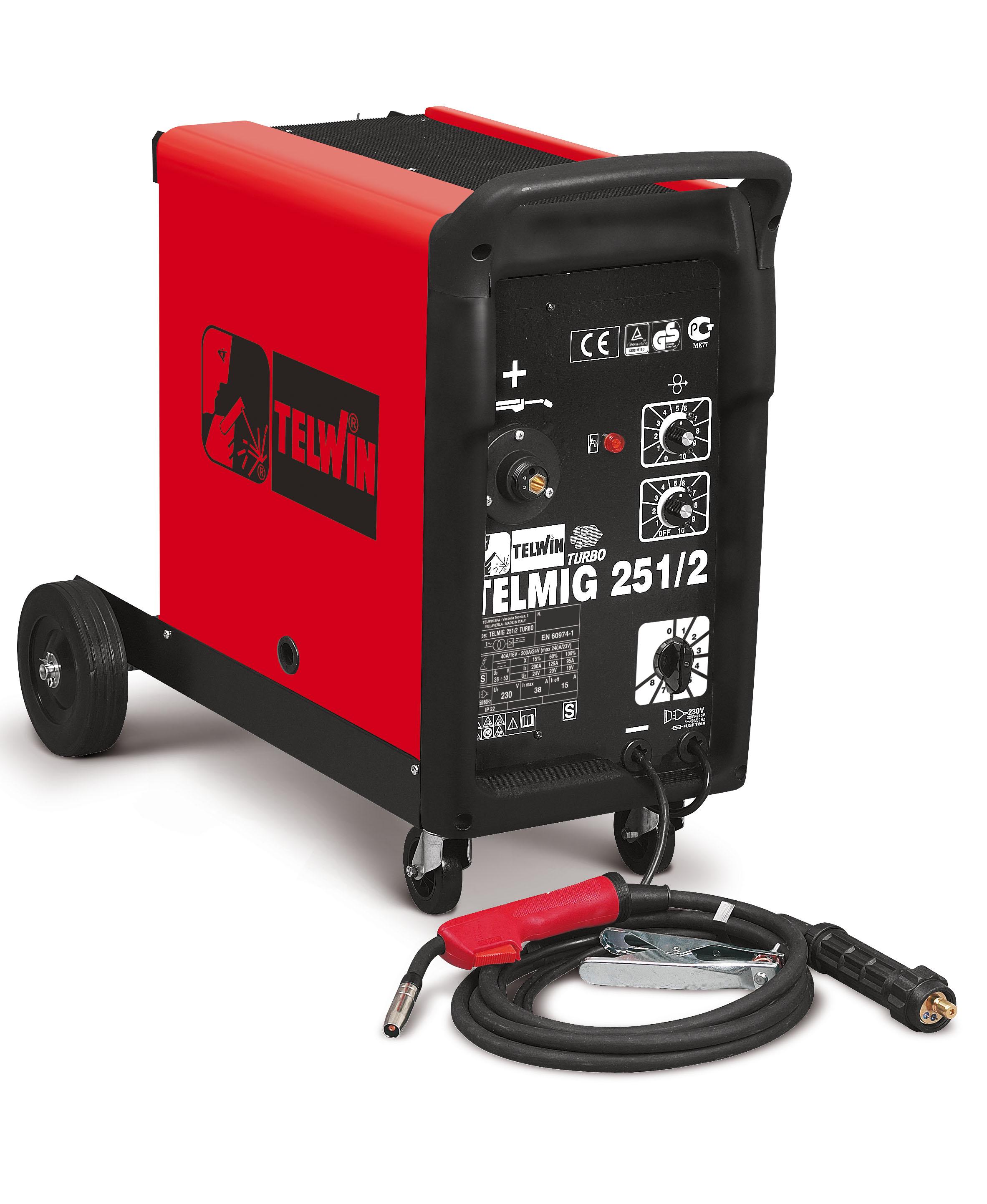 TELWIN 821070 - TELMIG 251/2 TURBO 230V, MIG-MAG welding machine, P-Max(8kW)