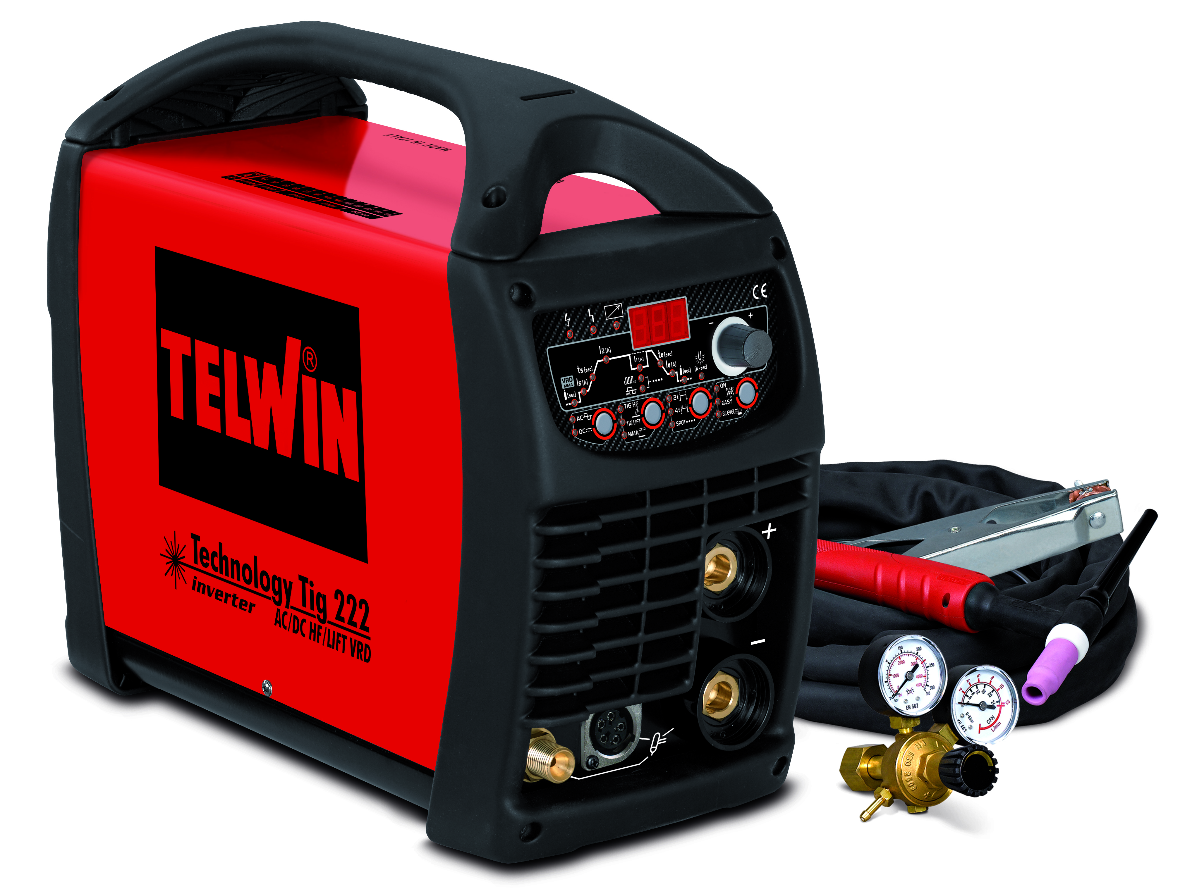 TELWIN 852054 - TECHNOLOGY T.222 AC/DC HF/LIFT 230V+ACC, TIG and MMA Inverter Welding Machine – P-Max(5.5kW)