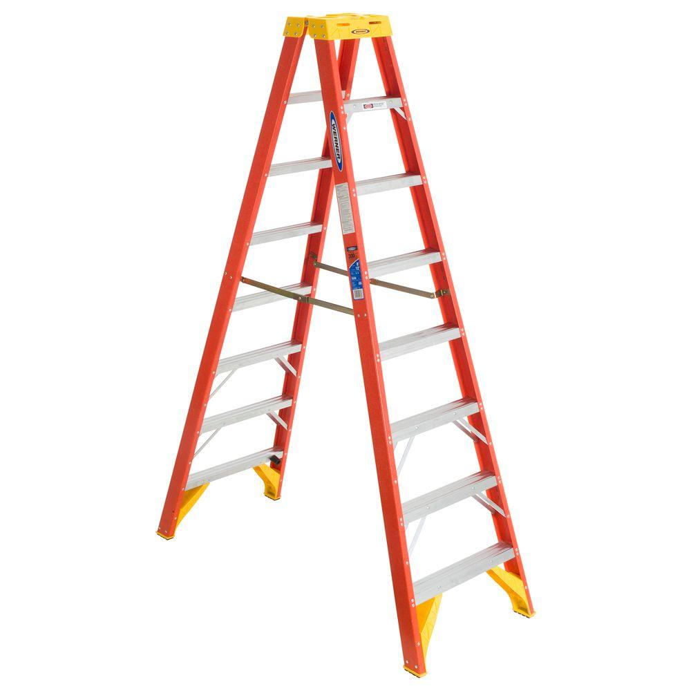 Werner T6208 - 8FT Fiberglass Twin Ladder